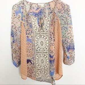 Anthropologie Sheer Floral Lace Tunic Blouse